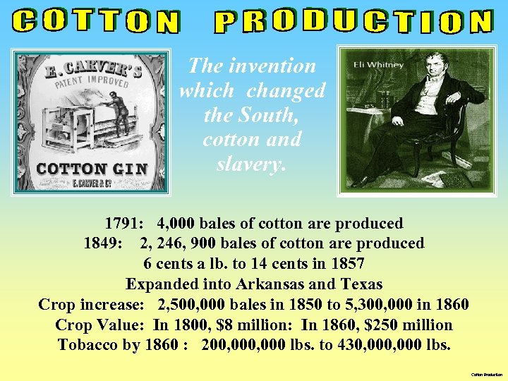 The invention which changed the South, cotton and slavery. 1791: 4, 000 bales of