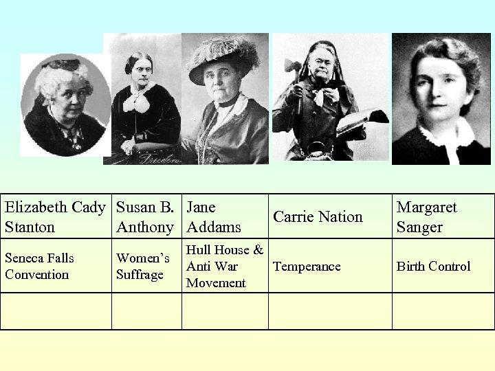 Elizabeth Cady Susan B. Jane Stanton Anthony Addams Seneca Falls Convention Women's Suffrage Carrie