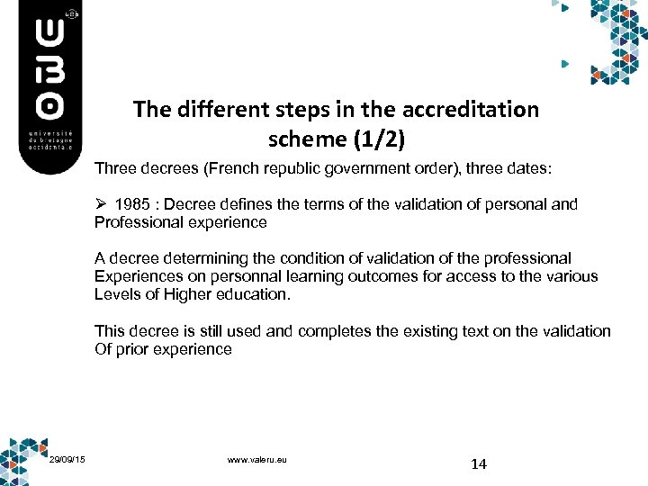 The different steps in the accreditation scheme (1/2) Three decrees (French republic government order),