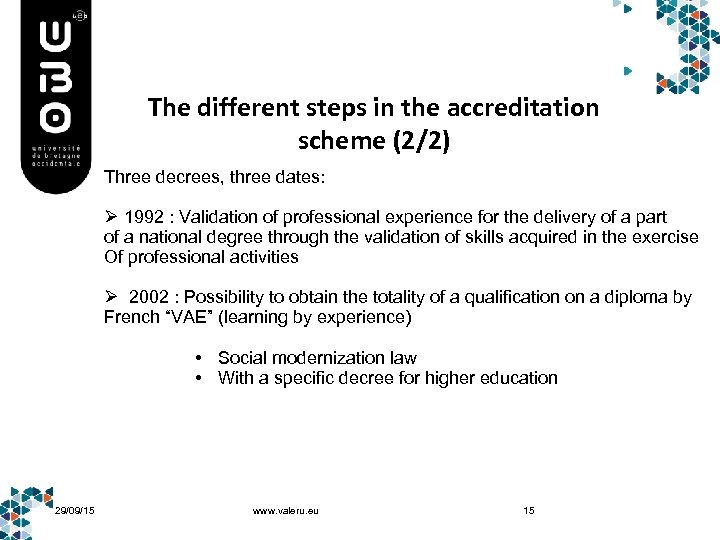 The different steps in the accreditation scheme (2/2) Three decrees, three dates: Ø 1992