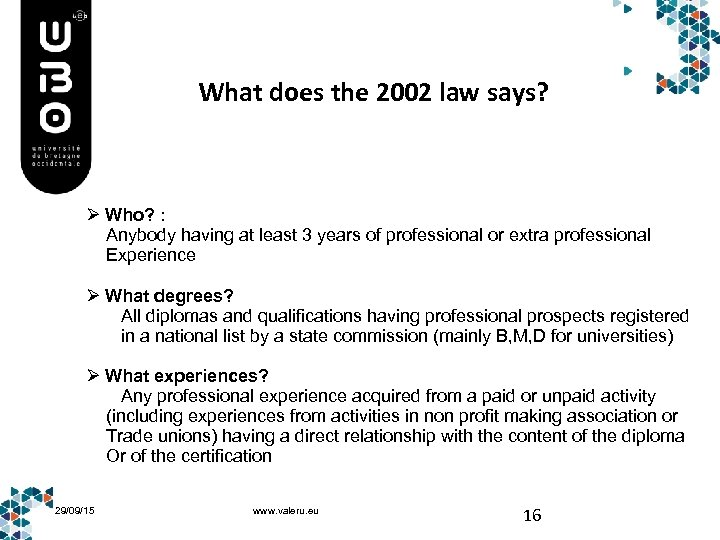 What does the 2002 law says? Ø Who? : Anybody having at least 3
