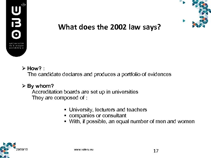 What does the 2002 law says? Ø How? : The candidate declares and produces