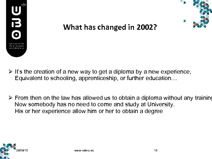 What has changed in 2002? Ø It's the creation of a new way to