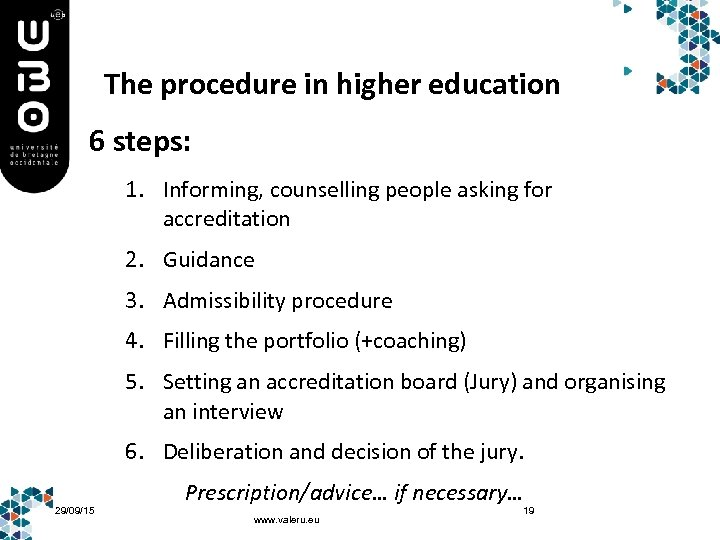 The procedure in higher education 6 steps: 1. Informing, counselling people asking for accreditation