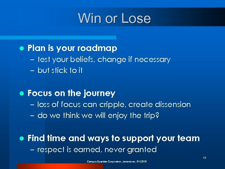 Win or Lose l Plan is your roadmap – test your beliefs, change if