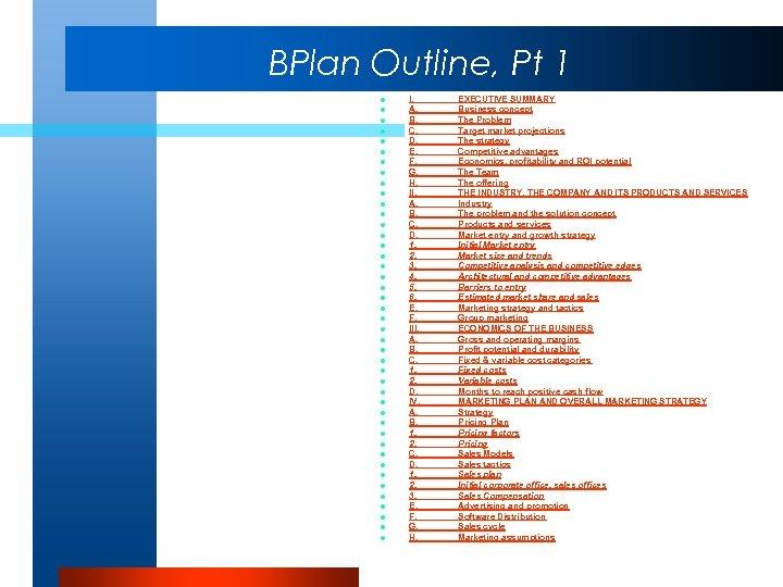 BPlan Outline, Pt 1 l l l l l l l l l l