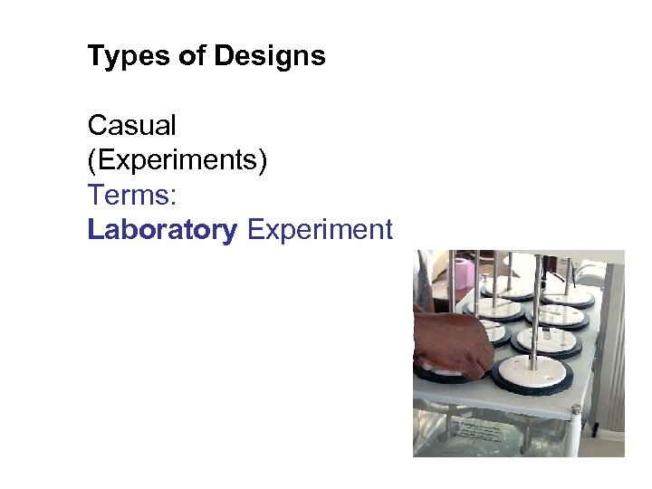 Types of Designs Casual (Experiments) Terms: Laboratory Experiment