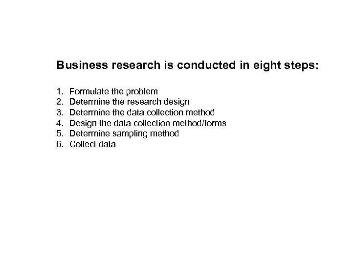 Business research is conducted in eight steps: 1. 2. 3. 4. 5. 6. Formulate