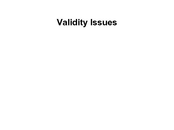 Validity Issues