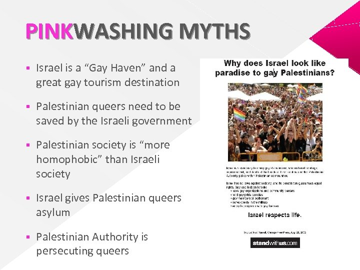 """PINKWASHING MYTHS § Israel is a """"Gay Haven"""" and a great gay tourism destination"""