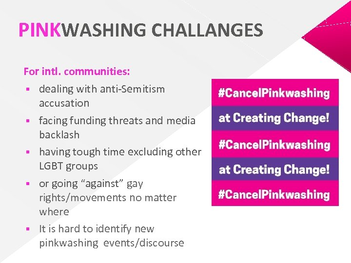 PINKWASHING CHALLANGES For intl. communities: § dealing with anti-Semitism accusation § facing funding threats