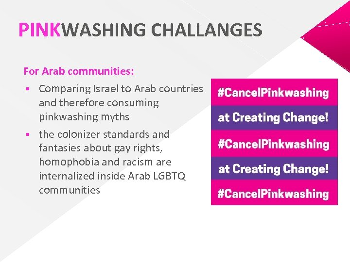 PINKWASHING CHALLANGES For Arab communities: § Comparing Israel to Arab countries and therefore consuming