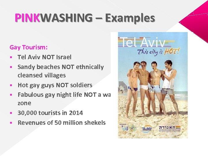 PINKWASHING – Examples Gay Tourism: § Tel Aviv NOT Israel § Sandy beaches NOT