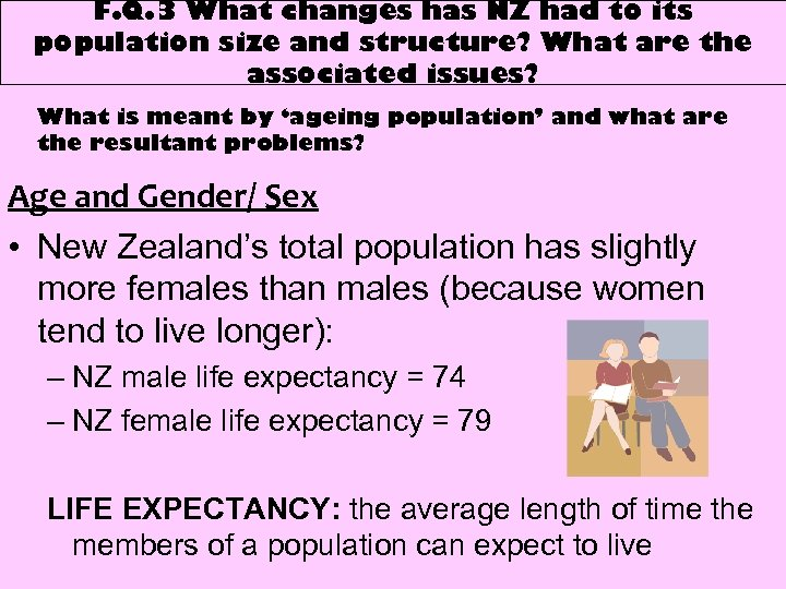 F. Q. 3 What changes has NZ had to its population size and structure?