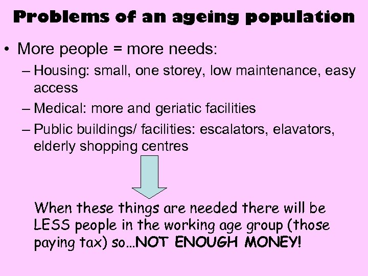 Problems of an ageing population • More people = more needs: – Housing: small,