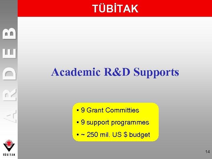 ARDEB TÜBİTAK Academic R&D Supports • 9 Grant Committies • 9 support programmes •
