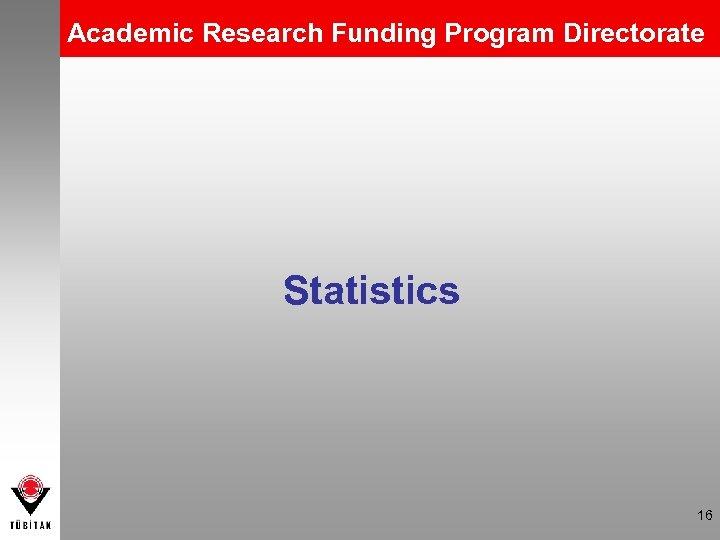 Academic Research Funding Program Directorate Statistics 16