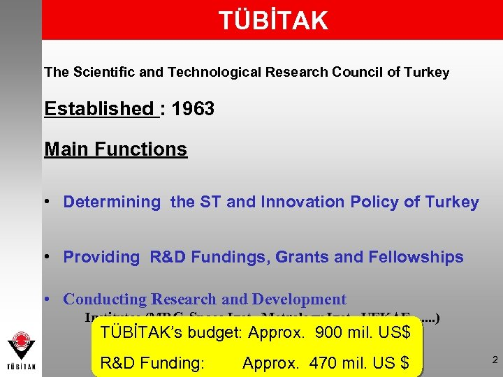 TÜBİTAK The Scientific and Technological Research Council of Turkey Established : 1963 Main Functions