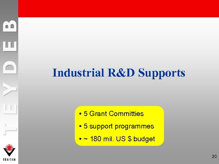 TEYDEB Industrial R&D Supports • 5 Grant Committies • 5 support programmes • ~