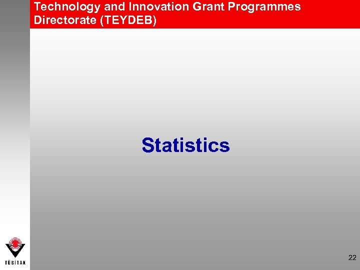 Technology and Innovation Grant Programmes Directorate (TEYDEB) Statistics 22