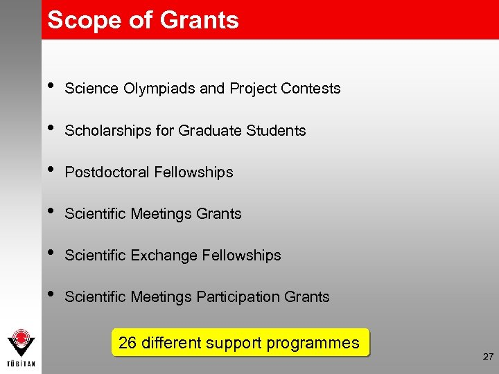 Scope of Grants • Science Olympiads and Project Contests • Scholarships for Graduate Students