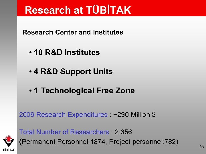 Research at TÜBİTAK Research Center and Institutes • 10 R&D Institutes • 4 R&D