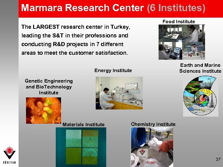Marmara Research Center (6 Institutes) Food Institute The LARGEST research center in Turkey, leading