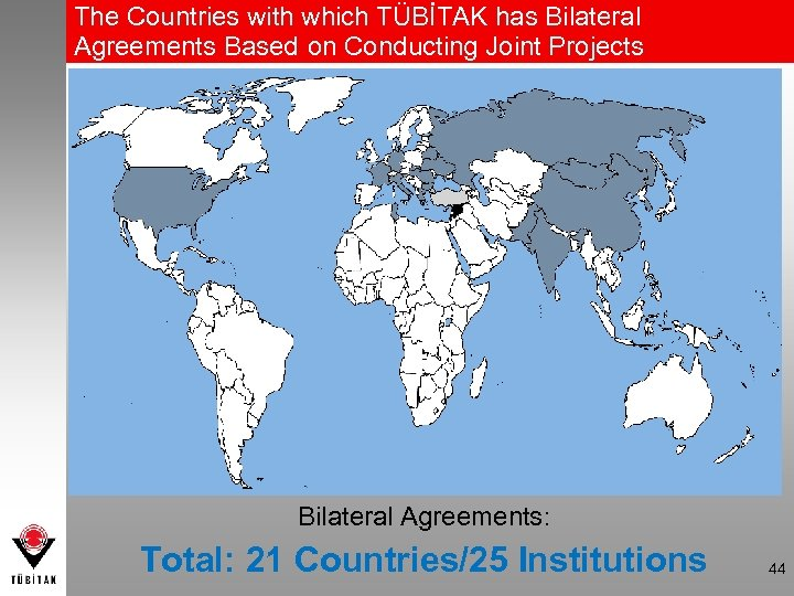 The Countries with which TÜBİTAK has Bilateral Agreements Based on Conducting Joint Projects Bilateral
