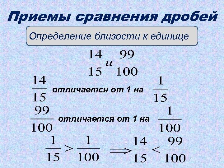 Приемы сравнения дробей Определение близости к единице отличается от 1 на