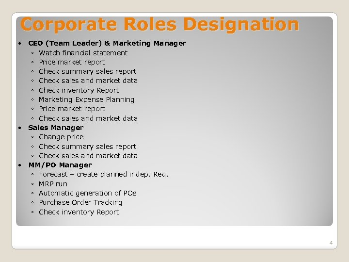 Corporate Roles Designation CEO (Team Leader) & Marketing Manager ◦ Watch financial statement ◦