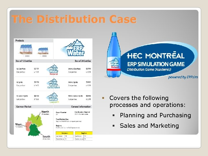The Distribution Case § Covers the following processes and operations: § Planning and Purchasing