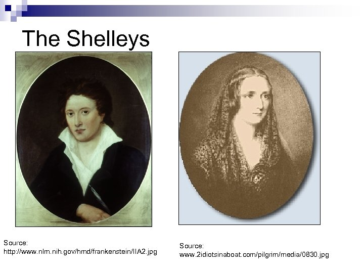 The Shelleys Source: http: //www. nlm. nih. gov/hmd/frankenstein/IIA 2. jpg Source: www. 2 idiotsinaboat.