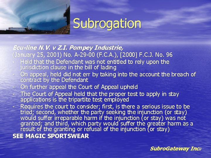 Subrogation Ecu-line N. V. v Z. I. Pompey Industrie, (January 25, 2001) No. A-29