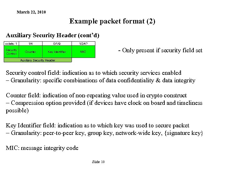 March 22, 2010 Example packet format (2) Auxiliary Security Header (cont'd) octets: 1 1/4