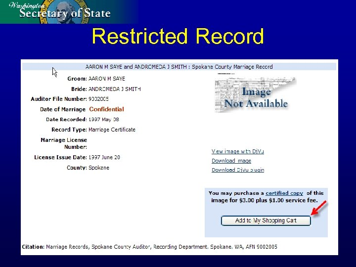Restricted Record Confidential
