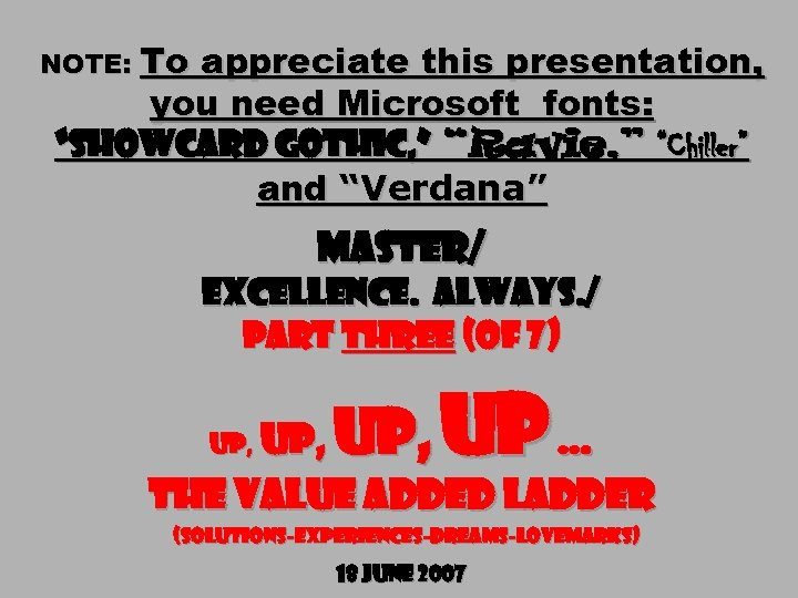 """NOTE: To appreciate this presentation, you need Microsoft fonts: """"Showcard Gothic, """" """"Ravie, """""""
