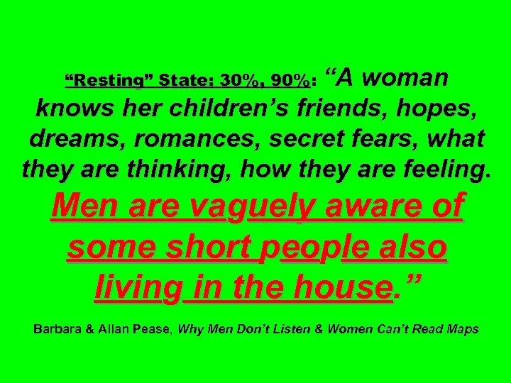 """""""Resting"""" State: 30%, 90%: """"A woman knows her children's friends, hopes, dreams, romances, secret"""