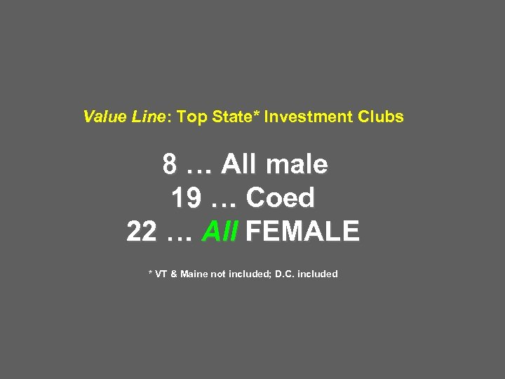 Value Line: Top State* Investment Clubs 8 … All male 19 … Coed 22