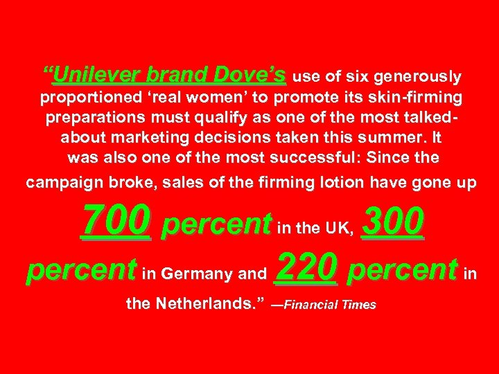 """""""Unilever brand Dove's use of six generously proportioned 'real women' to promote its skin-firming"""
