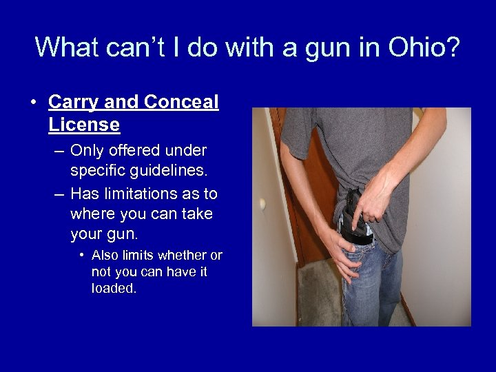 What can't I do with a gun in Ohio? • Carry and Conceal License