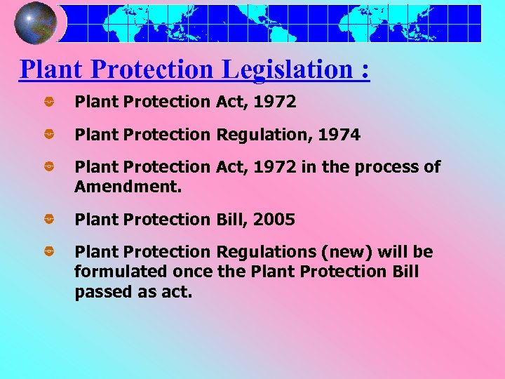 Plant Protection Legislation : Plant Protection Act, 1972 Plant Protection Regulation, 1974 Plant Protection
