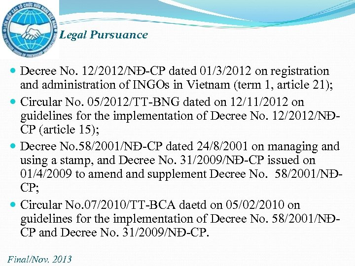 Legal Pursuance Decree No. 12/2012/NĐ-CP dated 01/3/2012 on registration and administration of INGOs in