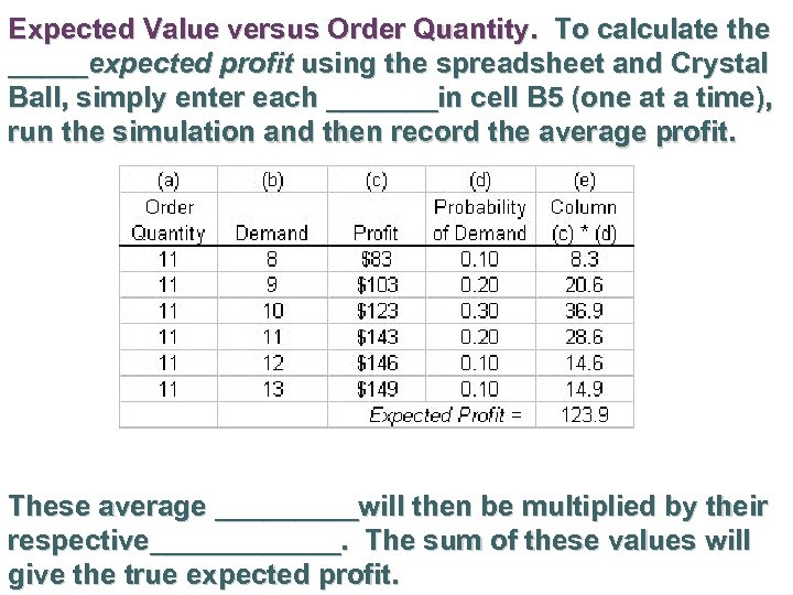 Expected Value versus Order Quantity. To calculate the _____expected profit using the spreadsheet and