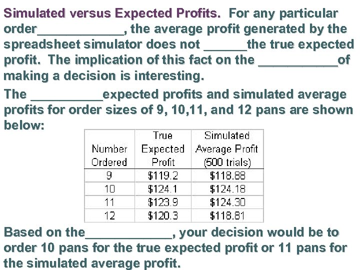 Simulated versus Expected Profits. For any particular order______, the average profit generated by the