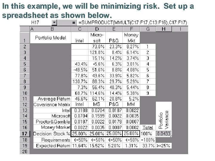 In this example, we will be minimizing risk. Set up a spreadsheet as shown