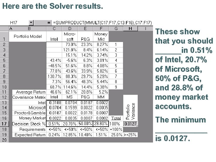 Here are the Solver results. These show that you should ______in 0. 51% of