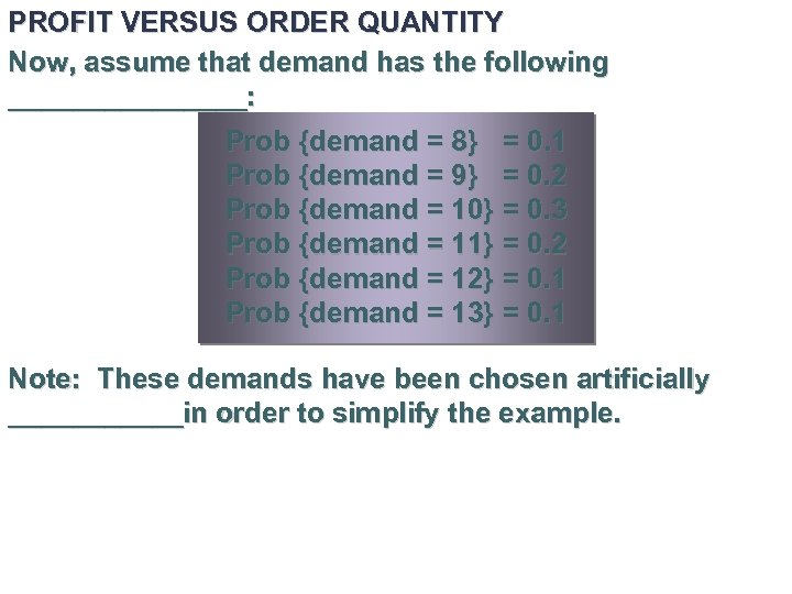 PROFIT VERSUS ORDER QUANTITY Now, assume that demand has the following ________: Prob {demand