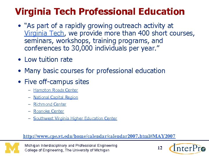 "Virginia Tech Professional Education • ""As part of a rapidly growing outreach activity at"
