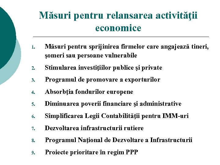 Măsuri pentru relansarea activităţii economice 1. Măsuri pentru sprijinirea firmelor care angajează tineri, şomeri
