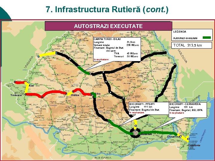 7. Infrastructura Rutieră (cont. ) PROGRAMUL DE CONSTRUCTIE AUTOSTRAZI EXECUTATE LEGENDA CAMPIA TURZII -